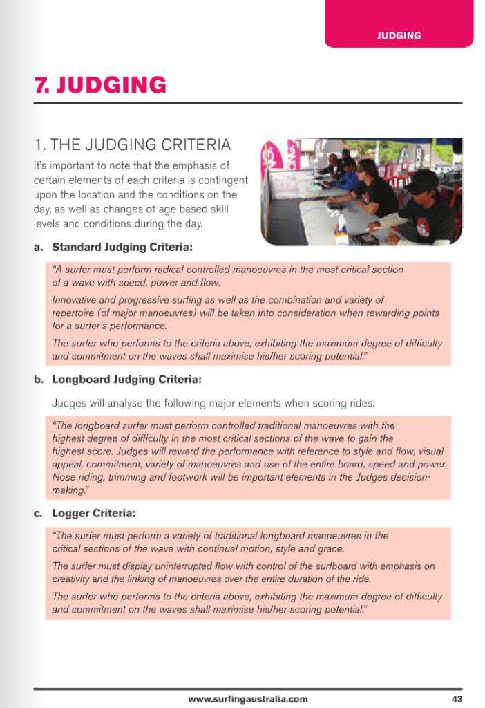 Judging Criteria - Surfing Australia